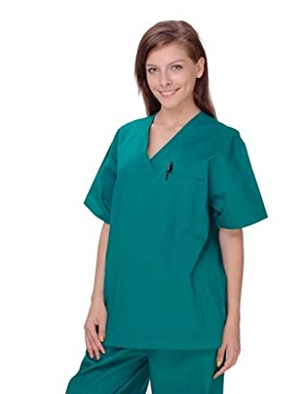 Unisex Solid Scrub Top - 1 Chest Pocket Style# UXT01 (Special Sale) (Aqua,X-Small)
