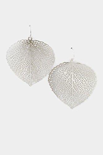 Trendy Fashion Jewelry Leaf Filigree Dangle Earring By Fashion Destination | (Rhodium) front-205027