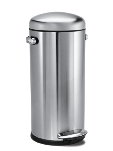 Simplehuman CW1880 Brushed Stainless Steel Retro Round Pedal Bin