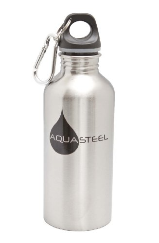 Stainless Steel Sports Water Bottles Wide Mouth by AquaSteel Food Grade 16 oz SILVER