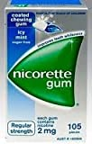 Nicorette Nicotine Gum 2mg Coated Icy Mint 1 Box 105 Pieces