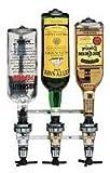 3 Bottle Wall Bar with 1 oz. Eclipse Black Shot Measurers | Liquor Dispensers