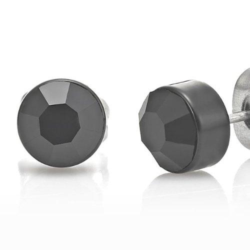 Stunning Stainless Steel Black Cubic Zirconia Mens Stud Earrings 6mm