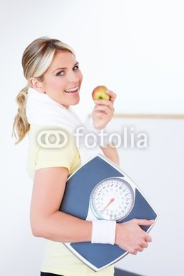 """Wallmonkeys Peel and Stick Wall Decals - Portrait of Healthy Young Woman Eating Apple - 48""""H x 32""""W Removable Graphic"""