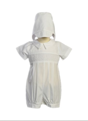 Boy'S Smocked Cotton Christening Baptism Romper With Hat - Size S (3-6 Month), White