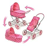 Badger Basket Polka Dots 3-in-1 Doll Pram Carrier And Stroller - Pink/White