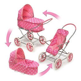Badger Basket Pink Polka Dots 3-in-1 Doll Pram, Carrier, and Stroller (fits American Girl dolls)