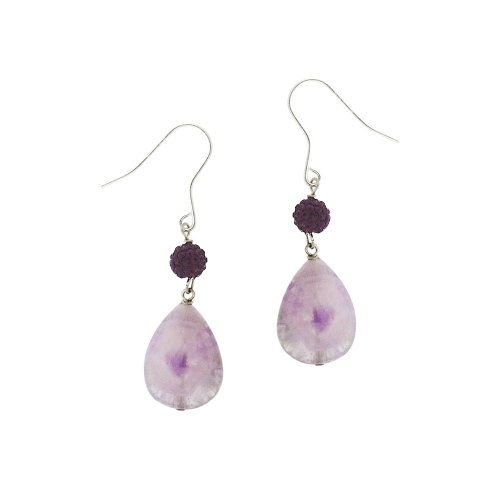 Sterling Silver Multi Purple Teardrop Genuine Stone and Crystal Fireball Drop French Wire Earrings