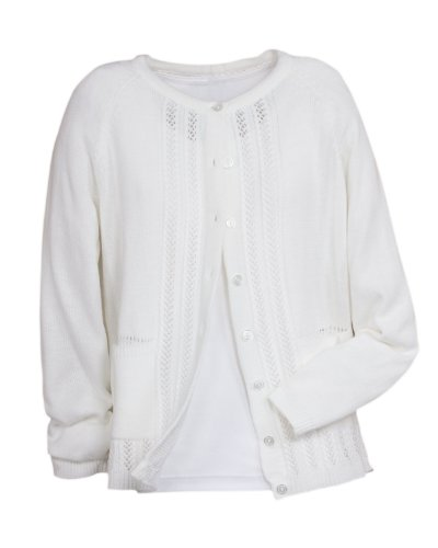 National Classic Cardigan Sweater, White, Large