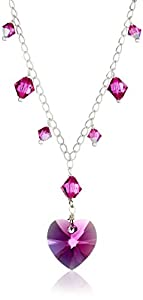 """Swarovski Elements Crystal Heart and Bicone Multi-Drop Necklace, 18"""""""