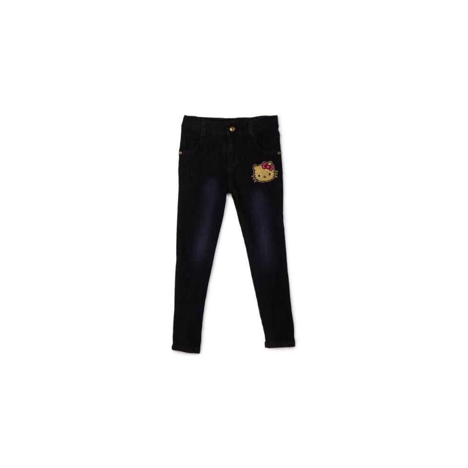 Hello Kitty Little Girls Skinny Jean with Patch Pocket, Dark Indigo, 3T