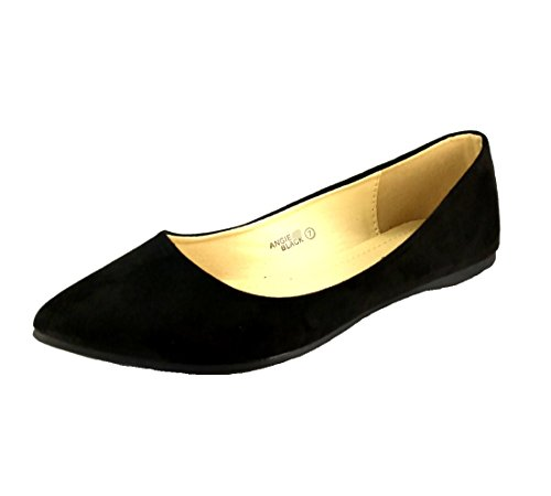 Bellamarie Women's Comfort Classic Pointy Toe Ballet Flat Shoes - Angie (7