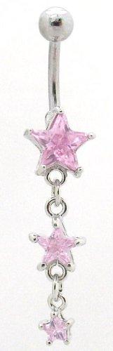 Pierced & Modified - Body Jewellery Belly Bars - Triple Star Dangle Navel Bar - Pink