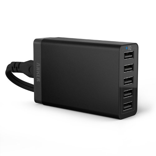 Anker® 40W 5-Port Family-Sized Desktop USB Charger with PowerIQ™ Technology for iPhone 5s 5c 5; iPad Air mini; Galaxy S5 S4; Note 3 2; the new HTC One (M8); Nexus and More (Black)