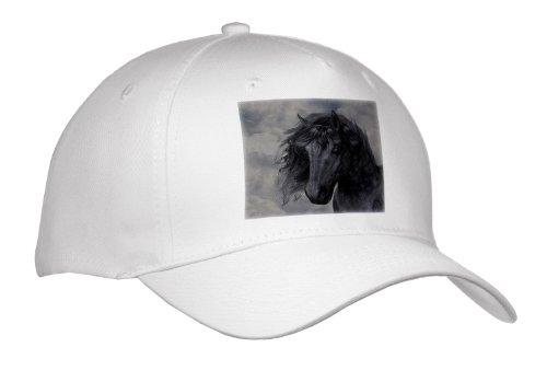 Simone Gatterwe Designs Animal - A Black Frisian Horse Portrait In A Cloudy Sky - Caps - Adult Baseball Cap