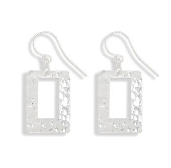 Hammered Open Rectangle Earrings on French Wire