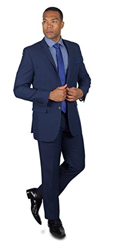 Alain Dupetit Men's Two Button Suit 44L Navy Blue (Men Blue Suit compare prices)