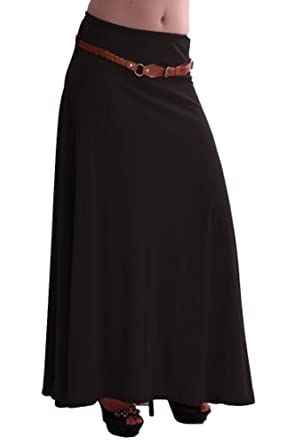 EyeCatch - Romina Womens Gypsy Long Jersey Ladies Belted Maxi Dress Flared Skirt Black S/M