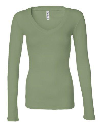 Bella Sheer Rib Long Sleeve Longer Length V-Neck T-Shirt front-1050242