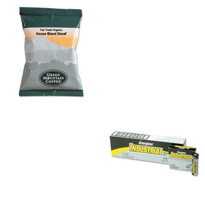 Kiteveen91Gmt5493 - Value Kit - Green Mountain Coffee Roasters Fair Trade Organic House Blend Decaf Coffee Fraction Packs (Gmt5493) And Energizer Industrial Alkaline Batteries (Eveen91)