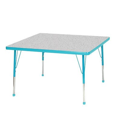 """Creative Colors N30Sqtl-Sb Activity Table, Ball Glides, Standard Height, 30"""", Square, Gray Nebula Top, Teal Edge front-977968"""