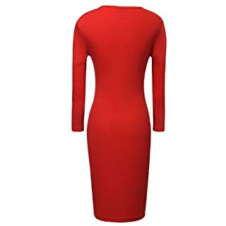Miusol Keyhole With Metal buckle Open-Chest Bodycon Pencil Party Dress,US Size 0-18 (XL/US Size 12/14, Red)