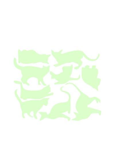 ZZ-Ambiance-sticker Vinilo Decorativo Glow In The Dark 9 Cats Set Wall Decal