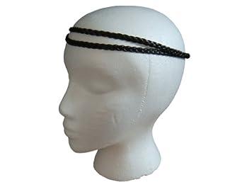 BLACK Faux Leather Double Braid Elastic Stretch Headband / Hairband *Headband Only, No Box* [Neon Celebrity Edition]