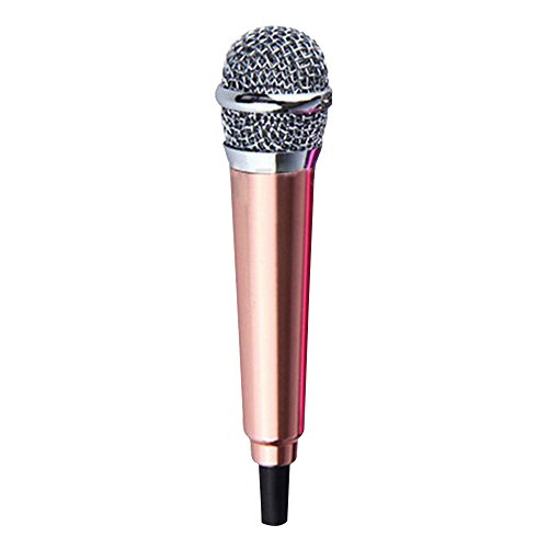 Cuitan Mini Condenser Microphone for Smartphones / Tablets PC / Desktops Computers, Microphone with Adapter Cable Ideal for Phone Calling, Internet Chatting, Vocal Recording, Karaoke Sing - Gold