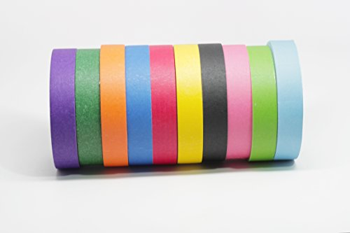Colored Masking Tape By Bam!, Multi Color 10 Large Roll Pack, Crepe Paper, Low Residue, 1 inch By 60 Yards, Crafting, Art, Decorating, Fan Colors, Sticks To Most Clean Surfaces, 10 Brilliant Colors (Crepe Paper Large compare prices)