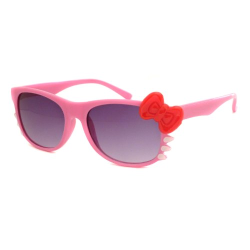HELLO Kitty Style Kids Children Baby Toddler Sunglasses UV (Age 1-5) PINK/RED BOW
