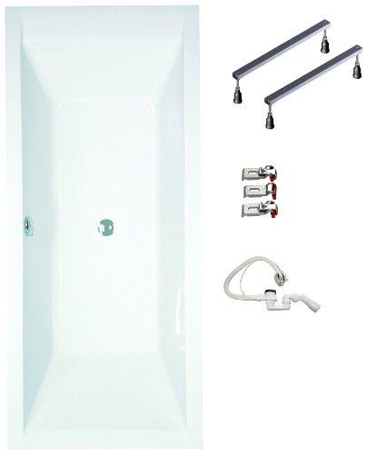 myBATH BWSET120RF Badewannen komplett Set inklusiv Acryl Rechteck Fußgestell und Über- Ablaufgarnitur, 180 x 80 cm