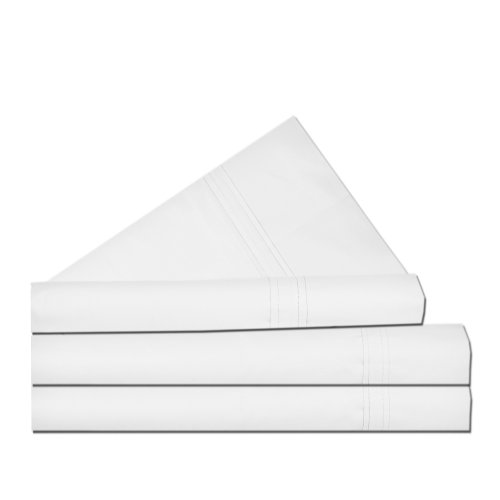 Tribeca Living King/300 Thread Count Egyptian Cotton Percale Deep Pocket Sheet Set, White