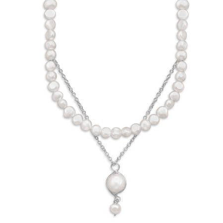 16.5 Inch Cultured Freshwater Pearl/Chain Drop Necklace