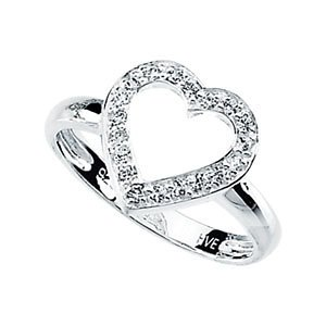 Sterling Silver Cubic Zirconia Heart Ring: Size 8