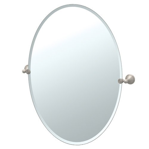 Gatco 4599Lg Laurel Ave. Large Oval Beveled Tilting Wall Mirror, Satin Nickel front-639486