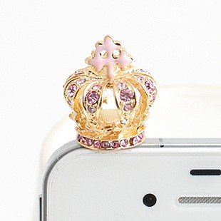 Brandbuy Earphone Jack Accessory Gold Plated 1Pcs Of Bling Pink Golden Crown Crystal Dust Plug Ear Jack For Audio Headphone, Iphones, Samsung And Other Smartphones Other 3.5Mm Ear Jack