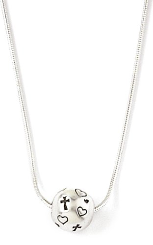 Bob Siemon Sterling Silver Ball Pendant with Hearts and Crosses, 16