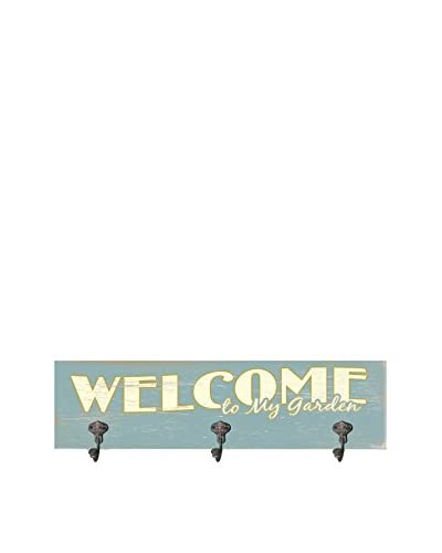Welcome To My Garden Wood Wall Décor, Blue, 6 x 22
