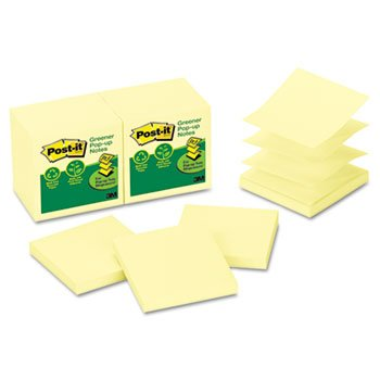 Recycled Pop-Up Notes Refill, 3 X 3, Canary Yw,100 Sheets/Pad, 12 Pads/Pack back-1053025