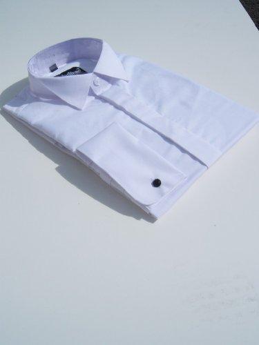 Mens White Wing Collar Evening Wedding Plain Shirt