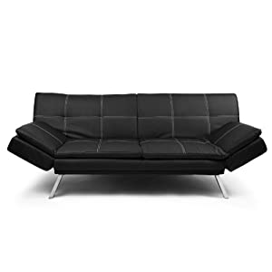 Dessini two seater sofa bed faux leather black with for Sofa bed amazon uk