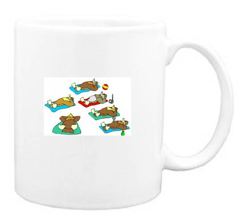 Mug with beach, sunbathing, birds, vacation