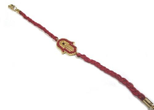 Braided Red Cord Hamsa/Hand of Fatima Beaded Bracelet - Adjustable