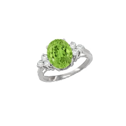 1.38 CT Oval Green Peridot Diamond Sterling Silver Ring