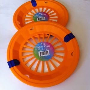Summer Pool Pack- 8 Orange Paper Plate Holders and Freezer sippy cups with lid and straw ~ Set includes 8 orange paper plate holders and 2 kids orange freezer cups. Bonus: 1- Assorted 48-50 piece puzzle.