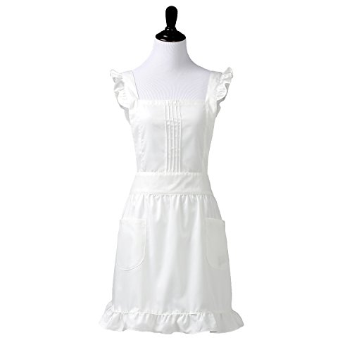 Womens Retro White Victorian Apron with Bib and Pockets, Pinafore for Cooking or Costume Medium