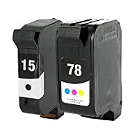 HP 15 & HP 78 Tri-Color Remanufactured Ink Cartridges-Black