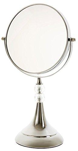 Danielle Enterprises Chrome 10X Magnification Trumpet Mirror With Glass Gems, Chrome front-298337
