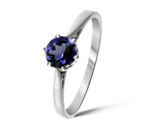 Inspired 9 ct White Gold Ladies Solitaire Engagement Ring with Iolite 0.35 Carat